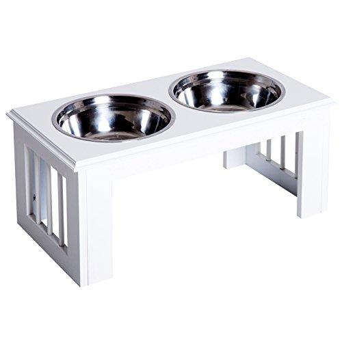 Pawhut Stainless Steel Pet Feeding Bowl Raised Elevated Twin Dog Bowls...