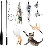 Queta Juguete de Plumas para Gatos, Juguete para Gatos, Juguete Interactivo de caña de Pescar retráctil con 5 recargas para Gatos y Gatitos