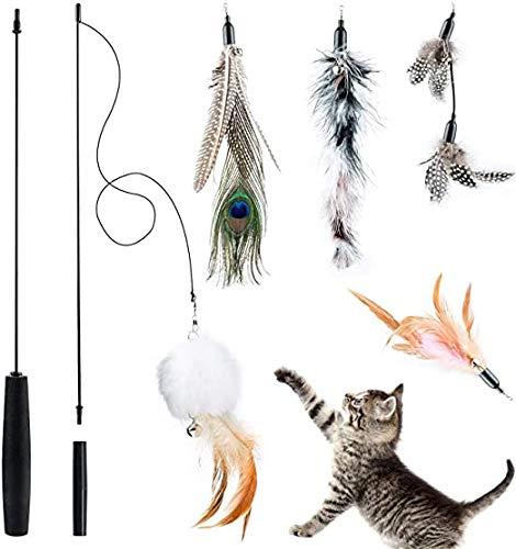 Queta Katzenfederspielzeug, Katzenspielzeug, interaktives einziehbares Angelrutenspielzeug mit 5 Nachfüllungen für Katzen und Kätzchen