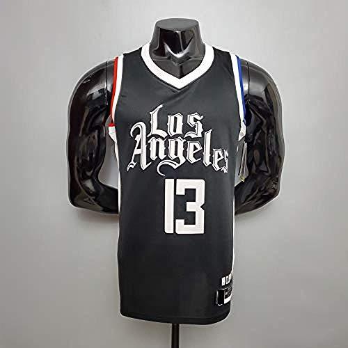 CLQ Ropa de Deporte-George Adult Men s # 13 Baloncesto Jersey Clippers Juego de Entrenamiento Jersey Negro Swingman Malla Transpirable Sudor Versión Bordada de Secado rápido (S-XXL)-XXL