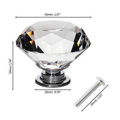 Auped 16x 40mm Kristall Moebelknopf Diamant Moebelknoepfe Moebelgriffe Schubladen Knöpfe Schubladengriff Schrankgriff Türknauf Türgriffe