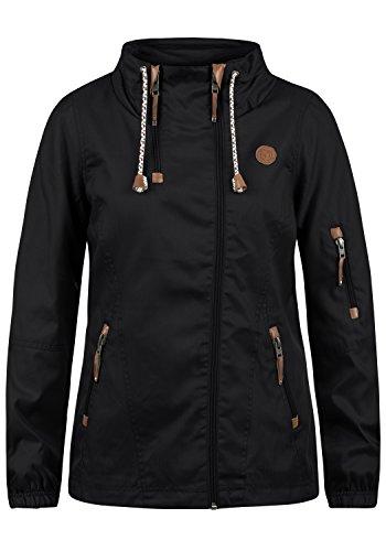 DESIRES Belle Damen Windbreaker Übergangsjacke Regenjacke Mit Stehkragen, Größe:L, Farbe:Black (9000)