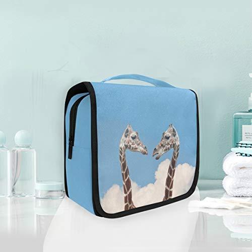 Trousse de maquillage, beau couple de girafe, sac de toilette de voyage
