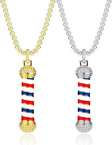 Collar de moda 1 pieza Barber Shop 3D Barber Pole Colgante Collar Lujoso collar de cadena larga Peluquero Peluquero Souvenir Collar para unisex Collar colgante Regalo para hombres Mujeres Niñas Niños