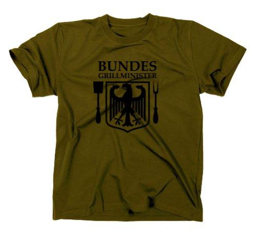 Bundesgrillminister Grill Fun T-Shirt Grillgott Instructor, BBQ, Oliv, M