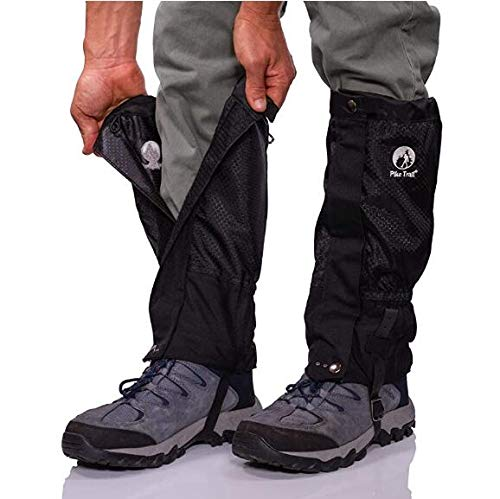 Lixada Leg Gaiters Waterproof Snow Boot Gaiters Adjustable Anti-Tear Snow Boot Gaiters for Snowshoeing, Hiking, Hunting, Running, Motorcycle