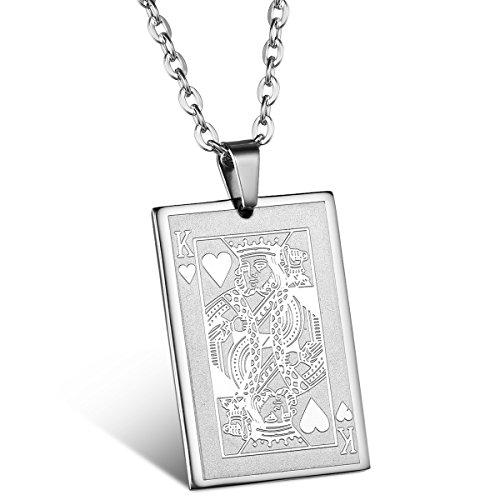 JewelryWe Schmuck Edelstahl Poker Karte Herzen König K Anhänger mit 55cm Kette, Halskette für Herren Damen, Silber