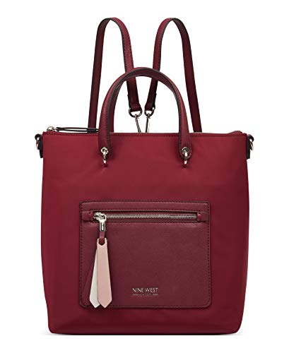 Nine West Women's Zip It Up Convertible Backpack, Claret (Red) - NYY103832-CLA