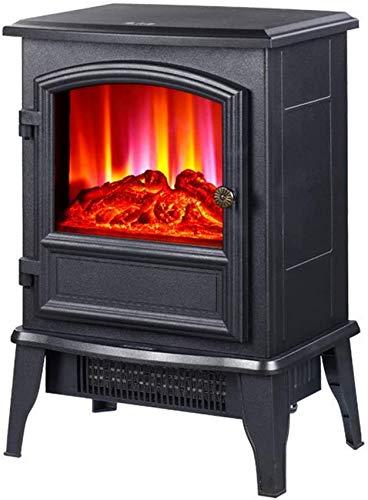 KAUTO Calentador de Chimenea eléctrico de 2000 W y ndash;Chimenea con Estufa de leña luz LED y ndash;Temperatura Ajustable 2 configuraciones de Calor y Llama con Ventana Grande WiFi