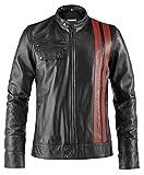 Pelletteria Factory Soprano Black Mens Faux Leather Jacket Café Racer Fashion Peter Fonda - Riding Jackets for Motorcycles Men