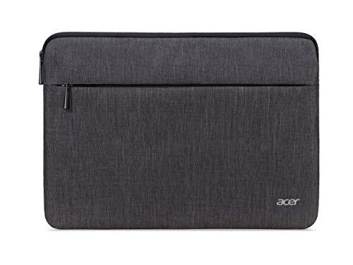 Acer Protective Sleeve (geeignet für bis zu 14 Zoll Notebooks: Universelle Schutzhülle, wasserabweisendes Außenmaterial, Schutz vor Dreck & Stoßschäden, extra Fronttasche) grau