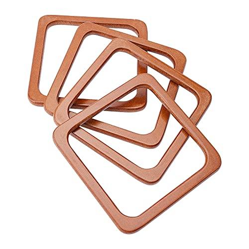 CHGCRAFT 2 pares de asas cuadradas de madera, asas de repuesto para bolso de mano de playa, bolsas de paja de mano, color camel, 5.5 × 5.5 × 0.4 pulgadas