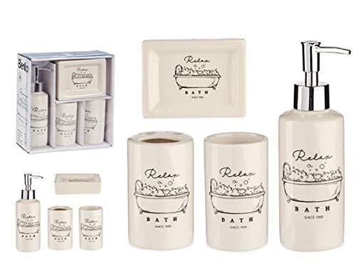 Berilo Set de Baño. 4 Piezas de Accesorios Baño. Decoracion Baño Estilo Moderno. Baños Complementos Jabonera, Vaso de Baño.