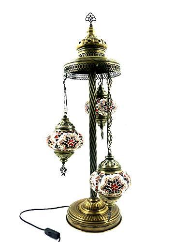 Orientalische Türkische Tiffany Glasmosaik Turkish Asiatisch Handgefertigte Mosaik Glas Boden Lampe Innenleuchte Orientalische Lampe Glas Stehlampe Bodenlampe 3 Lichter Glasgröße 2 (Orange-Rot)