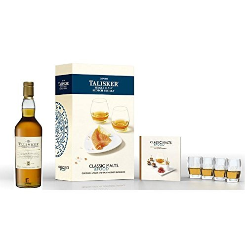SINGLE MALT SCOTCH WHISKY 18 Jahre CLASSIC MALTS e FOOD SPECIAL PACK 4 GLASS 70 CL IN ASTUCCIO