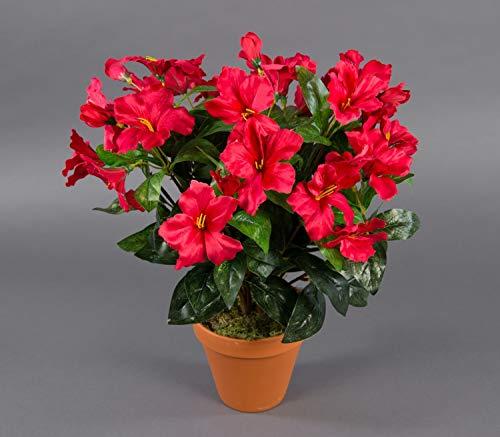Seidenblumen Roß Großer Hibiskus 42cm rot im Topf ZF künstliche Pflanzen künstlicher Eibisch Kunstblumen Kunstpflanzen