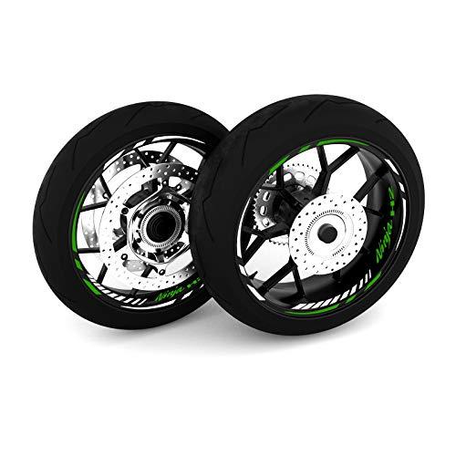 Motostick Graphics Adhesivo adhesivo para rueda compatible con Kawasaki H2' Spikes 4' (verde)