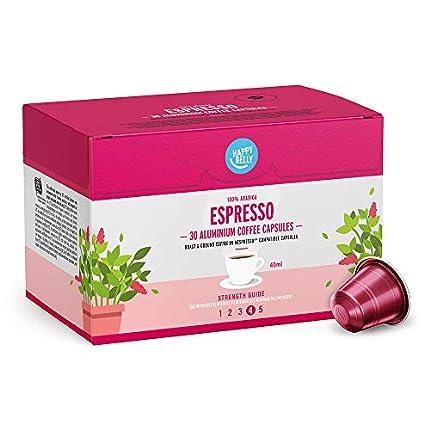 Marca Amazon - Happy Belly Espresso Café molido de tueste natural en cápsulas de aluminio compatibles con Nespresso, 120 cápsulas (4x30)