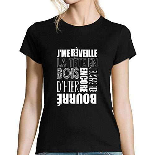 Encore bourré d'hier | T-Shirt Femme col Rond Musique Rap Hip Hop Français M