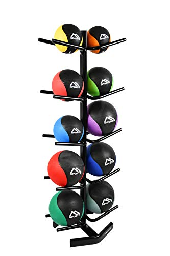 MSPORTS Medizinball 1 – 10 kg – Professionelle Studio-Qualität inkl. Übungsposter Gymnastikbälle (Set 1-10 kg + Medizinball Rack)