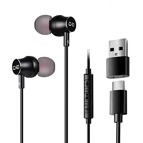 USB C Earbuds Headphones with Mic & Type-C Plug, HiFi Earphones Deep Bass, Compatible with Most Type C Mobile Devices, with USB C to USB Adapter for Laptop & Desktop Computers, CGS-W1A