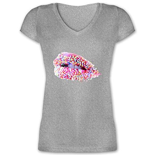Statement - Candy Lips Lippen Zucker Mund - 3XL - Grau meliert - Zucker - XO1525 - Damen T-Shirt mit...