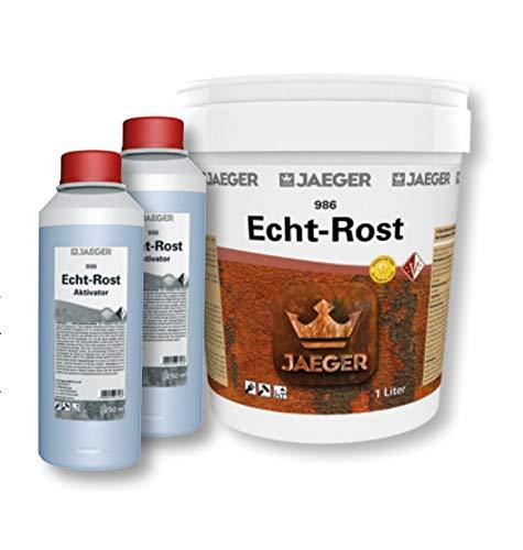 Jaeger Echt-Rost Farbe mit Eisenpartikeln (1,0 L Grundfarbe + 2 x 250 ml Aktivator)