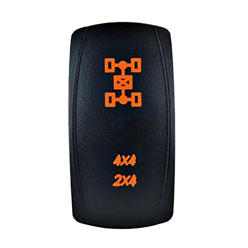 STV Motorsports Laser Orange Rocker Switch 4x4/2x4 AWD 20A 12V On/Off LED Light