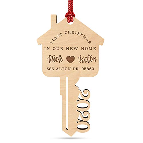 First Christmas in Our New Home, Personalized 2020 Key Christmas Ornament w/ Your Address & Names, Custom Laser Engraved 4' Wood, 2020 Xmas Ornament, Christmas Decoration Gift for Couples, Family