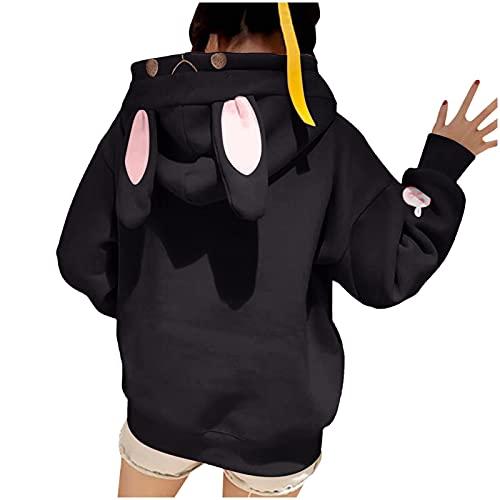 Alueeu Mujer Sudadera con Capucha 2021 Suelta Jersey Orejas de Conejo Otoño Invierno Outwear Manga Larga Pullover Remata Cálido Baratas Abrigo