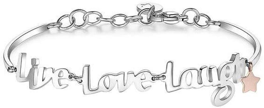 Brosway bracciale per donna chakra  in acciaio con scritta live, love, laugh. BHK292