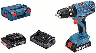 Bosch Professional 18V System GSB 18V-21 - Taladro percutor a batería (55 Nm, 1800 rpm, 2 baterías x 2,0 Ah, en L-BOXX)