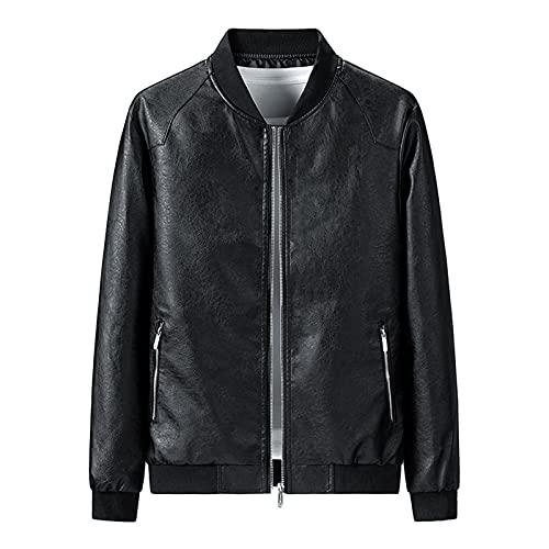 JIASHIQI Motorrad Lederjacke für Herren,Slim Trend Bestickte Bikerjacke,Retro Vintage Motorrad Mantel Top für Herbst und Winter (Color : Black, Size : M)