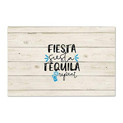 Not Branded Señal de madera Fiesta Siesta Tequila Repeat Custom Wood Sign, Cita personalizada, Signo de madera de granja, letrero de madera, arte de pared de granja 25 x 40 cm