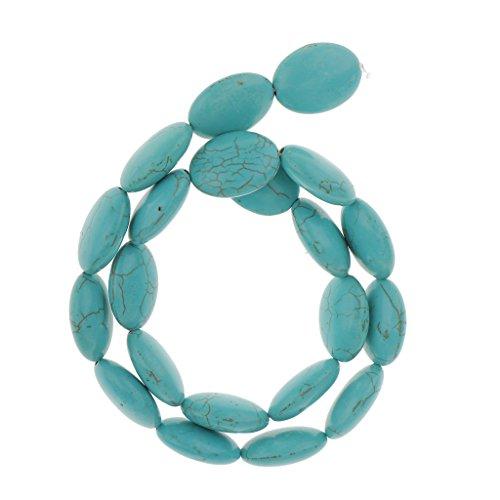 joyMerit Turquoise Flat Oval Gemstone Loose Stone Beads 15.7Inch