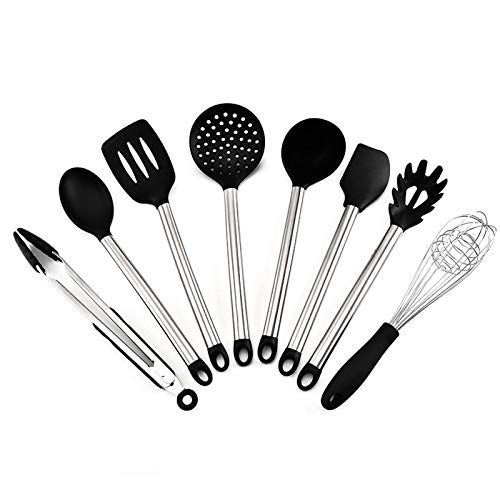 Silicone Cooking Utensils,8 Pieces Kitchen Tool Set,Utensil Chef Kitchen Utensil Set,Silicone Cooking Kitchen Utensils Set,Cooking Tools Tongs Spatula Spoon For Non Stick Heat Resistant Cookware,black