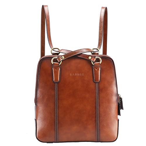Banuce Brown Leather Convertible Backpack Purse for Women Fashion Shoulder Bags