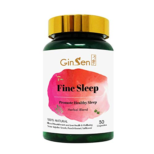 GinSen Fine Sleep Remedy 100% Natural Supplement for Sleeping Conditions Helps with Sleep Difficulty, Restlessness, Anxiety, Promotes Natural Sleeping Aid, Chinese Medicine, Made in UK (30 Capsules)