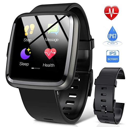 Hommie Orologio Smartwatch Donna Uomo Touch Screen, Orologio Fitness Donna Impereabile con Bluetooth, Contapassi, Pedometro Cardiofrequenzimetro,per Android iOS Come iPhone Samsung Huawei Xiaomi