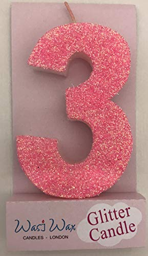 Wasiwax 3.25in Large Ultra Sparkle Pink Glitter Birthday Number 3 Candle - Cake Topper - No 3 - Choose Other Numbers 0-9 and Colours from Our Range