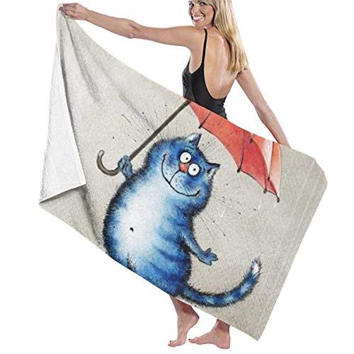 chillChur-DD Bath Towel Badetuch Wrap Cat In Rain Druckt Womens Spa Dusche und...
