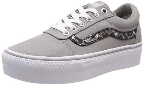 Vans Ward Platform Canvas, Damen Niedrig, Grau (Metallic Leopard) Drizzle Vw2), 42 EU (8 UK)