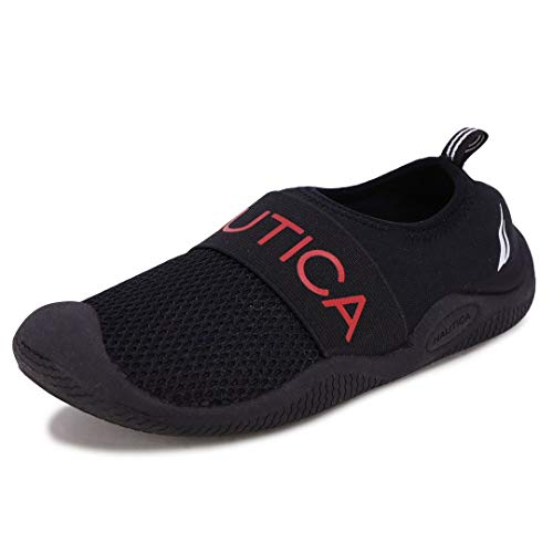 Nautica Kids Youth Athletic Water Shoes Aqua Socks Slip-on Sandals-Windward Youth-Black/Red-1