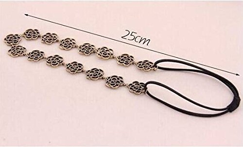 Hypoallergene Mode Trend van Goud Holle Rozen Elastische Haarband met Eenvoudige Mode Accessoires, antieke brons