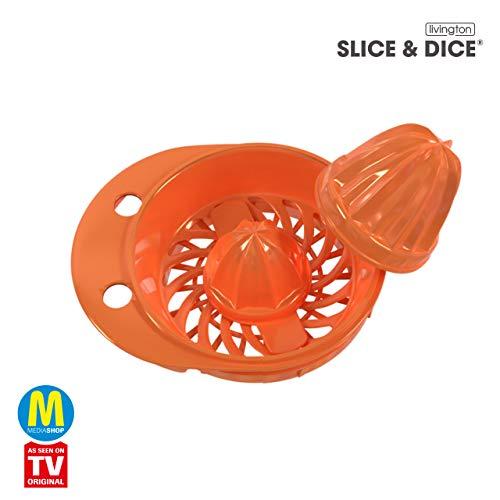 Mediashop Livington Slice & Dice Aufsatz Zitruspresse – Entsafter Aufsatz für den vielseitigen elektrischen Multischneider – müheloses Pressen Aller Zitrusfrüchte