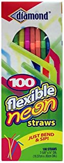 Diamond 41426-34158 Flexible Neon Straws44; 100 Count