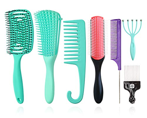 Detangle Brush Set of 8, 9-Row Cushion Nylon Bristle Shampoo Brush/Vented Styling Hair Brush/Metal Pick Comb/Massage Combs/Hair Combs for Separating, Shaping & Defining Curls Wet/Dry Hair Afro