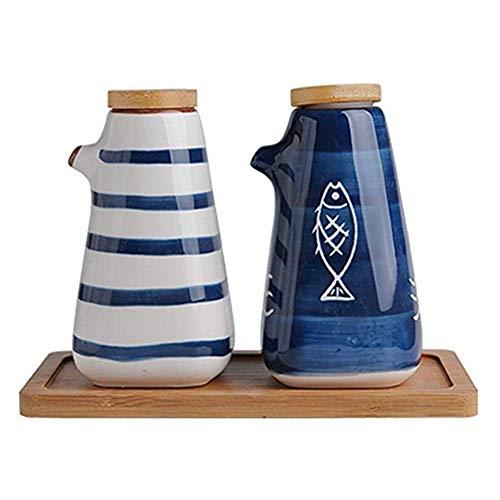 Kruiderij Kast opbergdoos kruiden box restaurant keramische kruiden keuken kruik opslag-glas zout shaker Japanse stijl potje met deksel twee-delige set (Kleur: A) (Color : B)