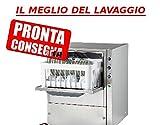 Lavabicchieri lavatazze professionale in acciaio inox cestello 35x35 cm H utile bicchiere 180 mm