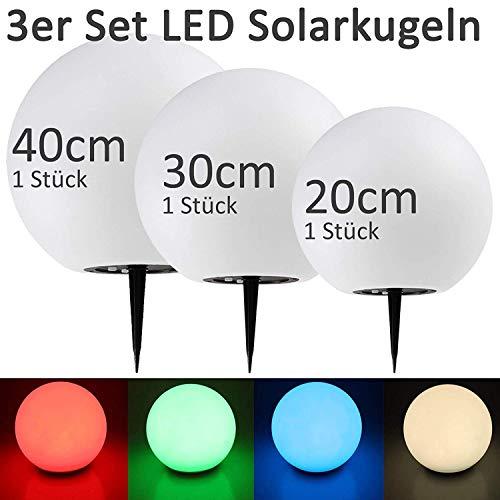 BUVTEC Qualitäts Solar Leuchtkugel 3er Spar-Set 20, 30 und 40 cm, Dauer- oder Wechsellicht 7 Lichtfarben bis zu 8 Std. Leuchtdauer